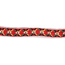 Ширит 18 мм червен с бяло,жълто и зелено -5 метра