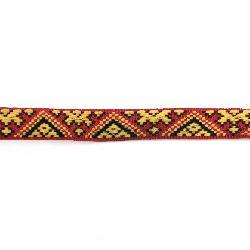 Ширит 17 мм червен с жълто и черно -5 метра