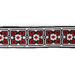 Ширит 32 мм тъмно син с червено и бяло -1 метър