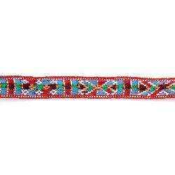 Ширит 14 мм червен с бяло,оранжево,зелено и синьо -5 метра