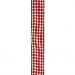 Ширит текстил 20 мм каре бяло и червено -2 метра