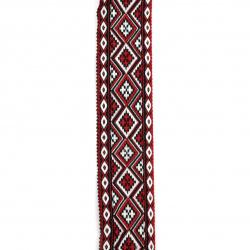 Ширит 35 мм черен с бели и червени ромбове - 5 метра