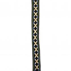 Ширит 16 мм черен с червено,бяло и синьо -5 метра