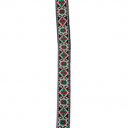 Ширит 16 мм кафяв с бяло,зелено и червено -5 метра