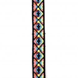 Ширит 25 мм черен с розово,синьо,жълто,оранжево и зелено електрик -5 метра