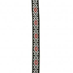 Ширит 10 мм черен бели ромбове с червено -5 метра