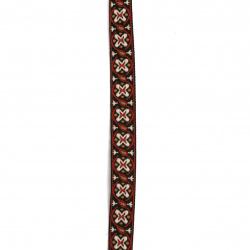 Ширит 15 мм черен с кремаво червено и кафяво -5 метра