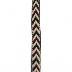 Ширит 20 мм син с кремаво кафяво и бордо -5 метра