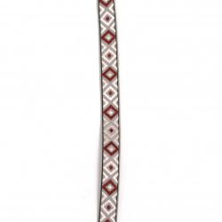 Ширит 12 мм сив с розови и бордо ромбове -5 метра