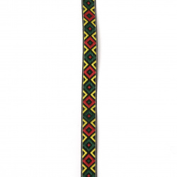 Ширит 12 мм черен с червени и зелени ромбове -5 метра
