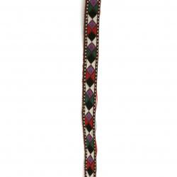 Ширит 10 мм кафяв с лилави и черни ромбове -5 метра