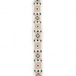 Ширит 20 мм тип шевица бял с пастелно розово пастелно синьо и черно -1 метър