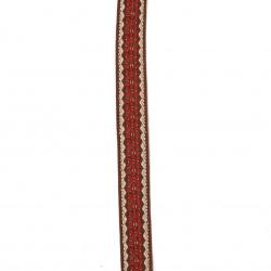 Banda 16 mm maro cu cremă roșie și margine șchiopătat -5 metri