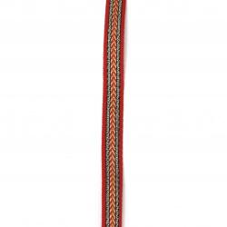 Ширит 10 мм тип шевица червен с черен кант златно и сребърно ламе -5 метра