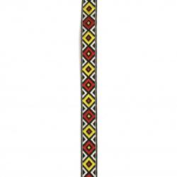 Ширит 12 мм черен с червени и жълти ромбове -5 метра