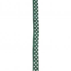 Лента сатен 10 мм рипс зелена с бели точки ~22 метра