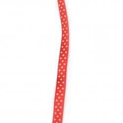 Лента сатен 10 мм рипс червена с бели точки ~43 метра
