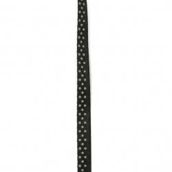 Лента сатен 6 мм рипс черна с бели точки ~43 метра