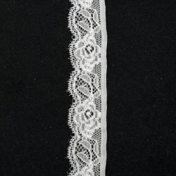 Panglică din dantelă elastică 25 mm crem - 1 metru