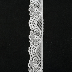 Elastic lace ribbon 30 mm for Decoration, Wedding Clothes, Sewing, white - 1 meter