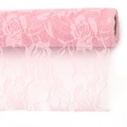 Дантела 48x450 см цвят розов