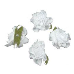 Trandafir de 35 mm satinat cu frunze alb -10 bucăți