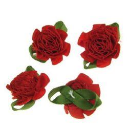 Τριαντάφυλλο σατέν 35 mm με φύλλα, κόκκινο -10 τεμάχια