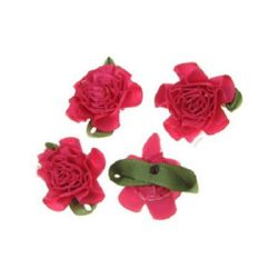 Rose 35 mm satin with a leaf dark pink - 10 pieces
