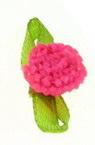 Роза шапка 10 мм с листо розова електрик -50 броя