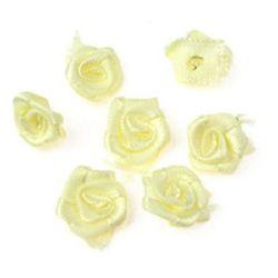Τριαντάφυλλα σατέν 11 mm απαλό κίτρινο  -50 τεμάχια