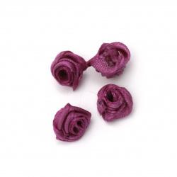 Τριαντάφυλλα σατέν 11 mm μωβ σκούρο -50 τεμάχια
