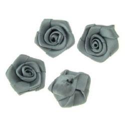 Τριαντάφυλλα σατέν 25 mm γκρι -10 τεμάχια