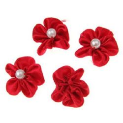 Rose with white pearl 23 mm for hair and clothes accessories, girls headband making red - 10 pieces