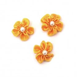 Λουλούδι σατέν 23 mm πορτοκαλί με πέρλα -10 τεμάχια