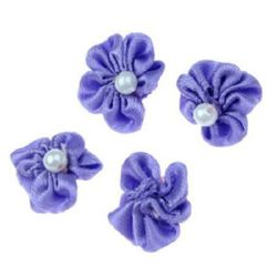 Decorative fabric rose 23 mm with white pearl for accessories making, art hobby crafts, purple - 10 pieces