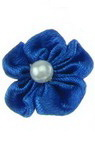 Artificial rose 23 mm with white pearl for embellishment of tiaras, hairpins, clothes in dark blue - 10 pieces