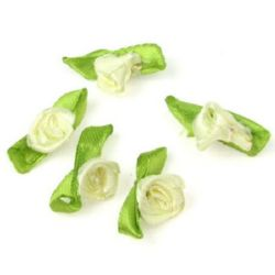 Decorative Rose 12x30 mm with leaf cream color -50 pieces