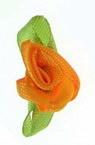 Decorative orange Rose 12x30 mm with  leaf - 50 pieces