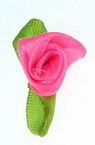 Textile rose 12x30 mm with leaf, electric pink - 50 pieces