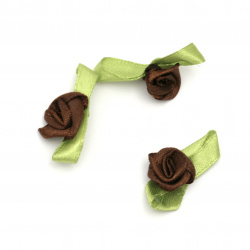 Artificial textile rose  with leaf 12x30 mm brown - 50 pieces