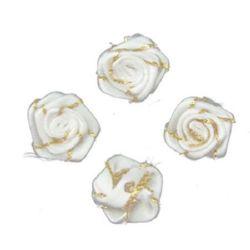 Роза 18 мм ламе злато бяла -10 броя