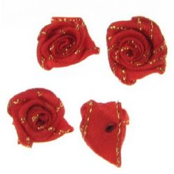 Rose with Metallic Cord 18 mm  gold red -10 pieces