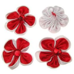Decorative Fabric Flower 45 mm white red -10 pieces
