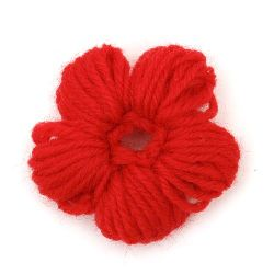Decorative Fabric Flower Knitted 40 ± 50x10 ± 15 mm red