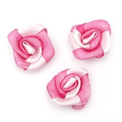 Rose satin and organza 25 mm pink and white -10 pieces