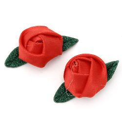 Trandafir de 25 mm satinat frunze textilă roșu -10 bucăți