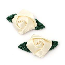 Trandafir de satin cu frunze de țesătură, cremă 25mm 10buc