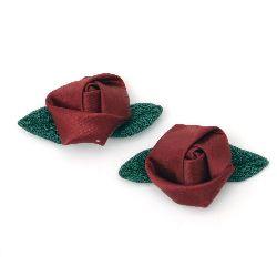 Satin Rose with Fabric Leaf, Bordeaux 25mm 10pcs