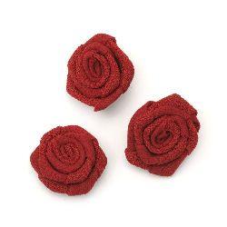 Decorative Fabric Rose, Red 30mm 5pcs