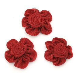 Decorative Fabric Rose, Red 38mm 5pcs
